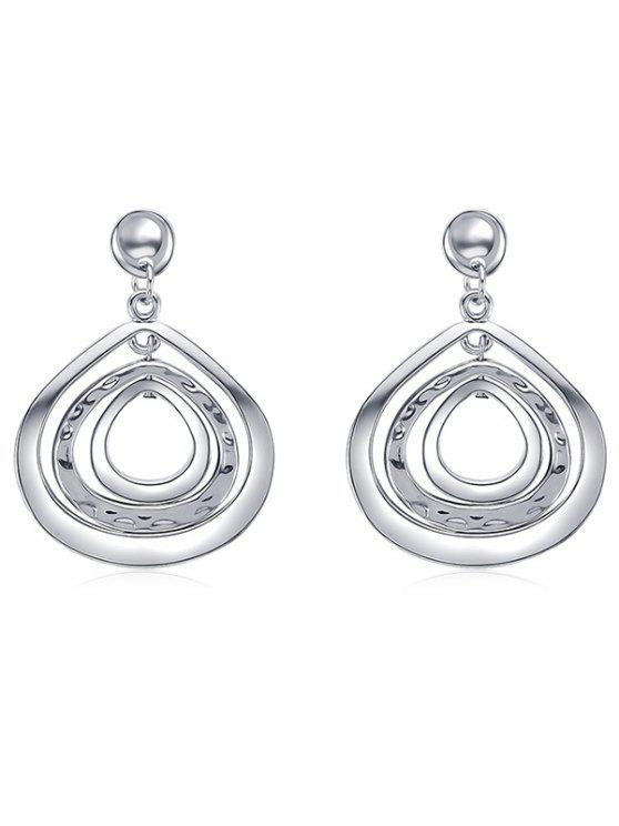 online Cut Out Teardrop Drop Earrings - SILVER