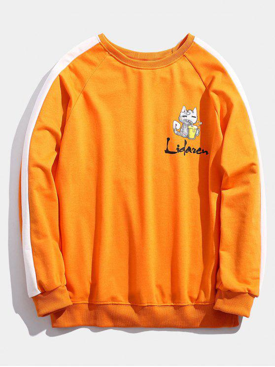 trendy Kitten Letter Print Striped Sweatshirt - ORANGE M