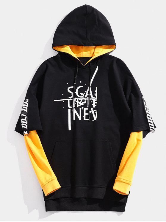 shops Streetwear Fake Two Piece Letter Hoodie - BLACK XL