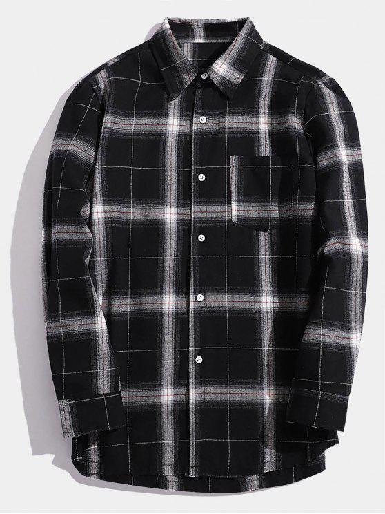 outfits Casual Chest Pocket Check Shirt - BLACK L