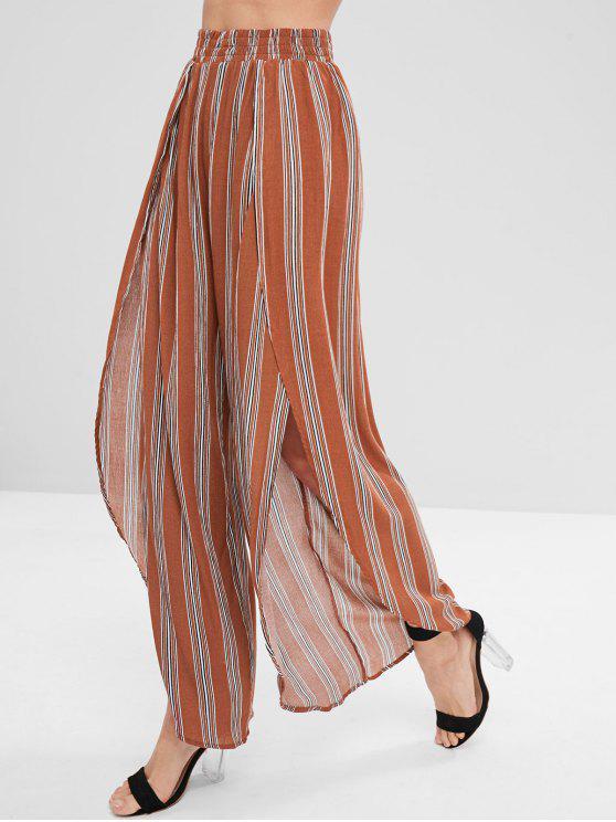 shop Striped Asymmetrical Wide Leg Pants - LIGHT BROWN S