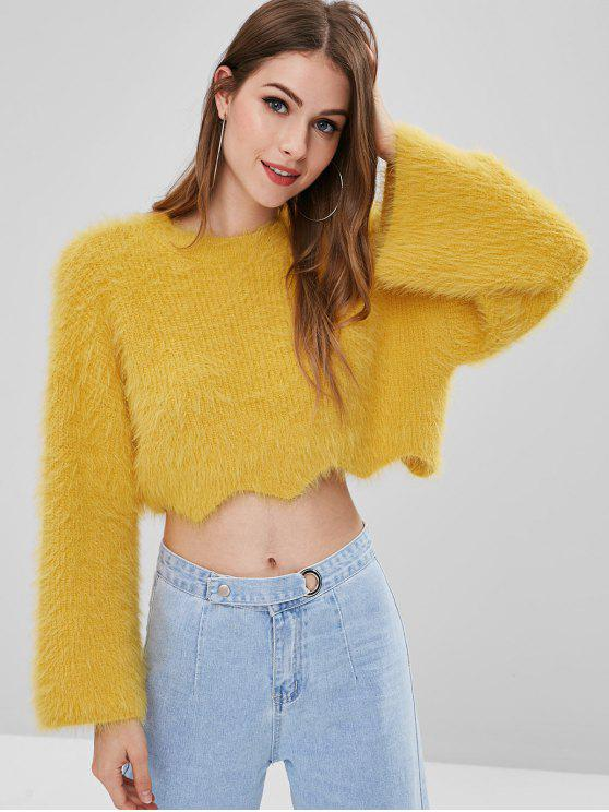 trendy ZAFUL Flare Sleeve Mohair Crop Sweater - BRIGHT YELLOW ONE SIZE