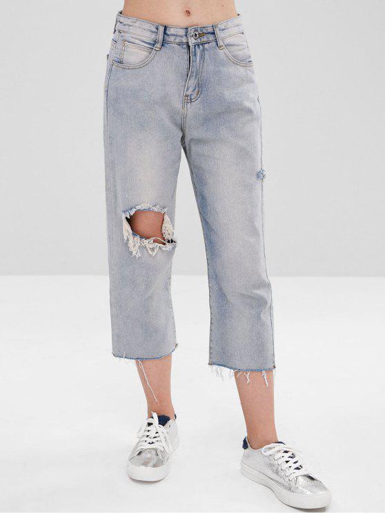 Jeans Capri retos destruídos - Nuvem Cinzento XL