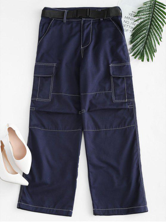 Pantalon Ceinturé avec Poche à Jambe Large - Bleu Marine L