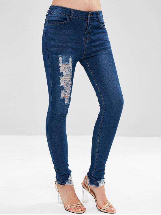Jean Collant Détruit - Bleu Toile de Jean XL