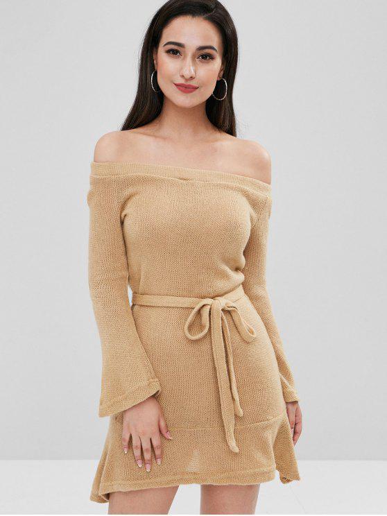 sale Belted Off The Shoulder Sweater Dress - CAMEL BROWN M