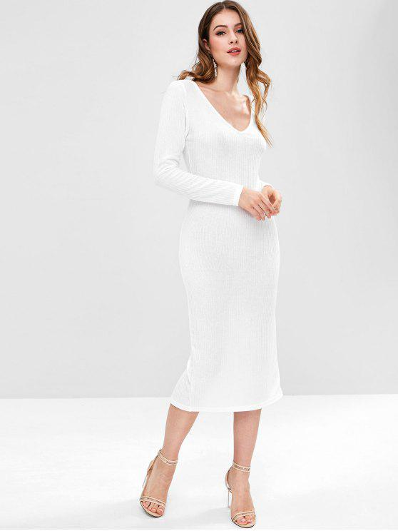 women Back Split Plunging Neck Bodycon Dress - WHITE L