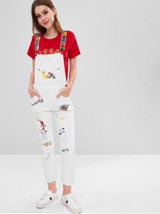 shops Distressed Embroidered Denim Overalls - WHITE L