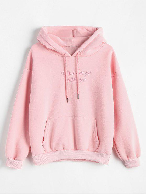 women's Fleece Letter Embroidered Hoodie - PINK ONE SIZE
