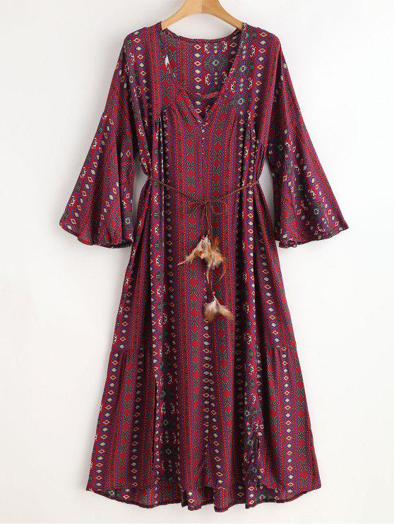 outfit Ethinc Plunging Bell Sleeve Slit Dress - RED WINE ONE SIZE