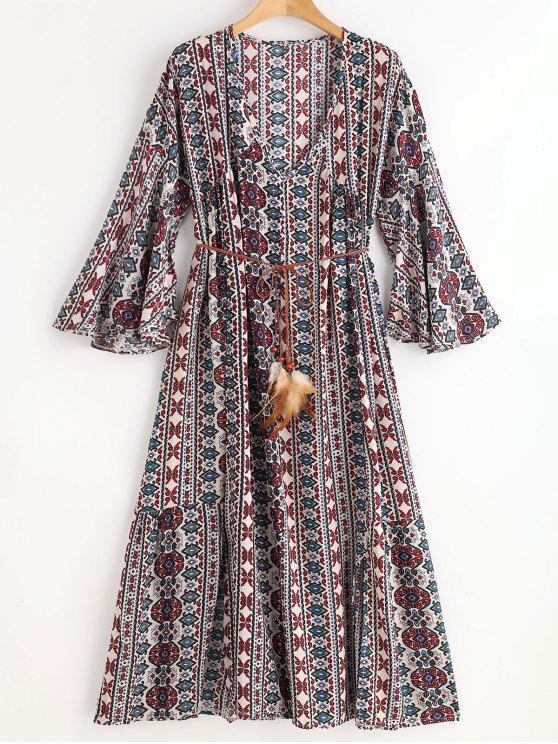shops Belted Ethinc Midi Plunging Dress - MULTI ONE SIZE