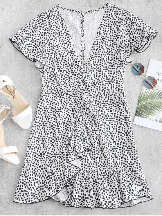 انقطاع الكشكشة البسيطة اللباس - أبيض L