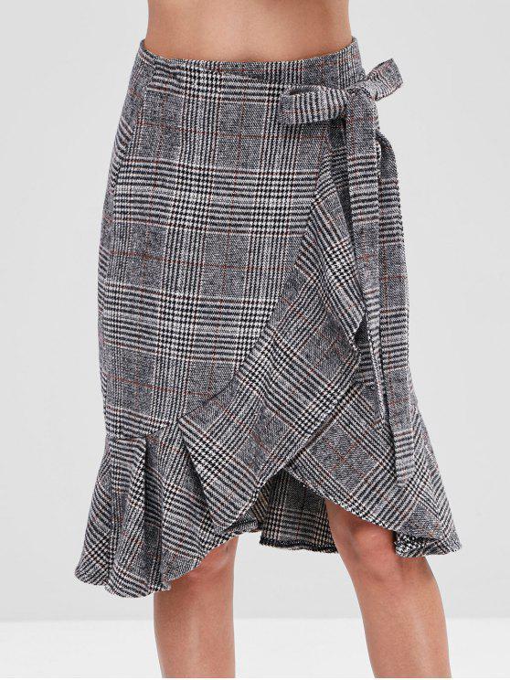 انتفض هيم منقوشة التفاف تنورة - متعدد XL