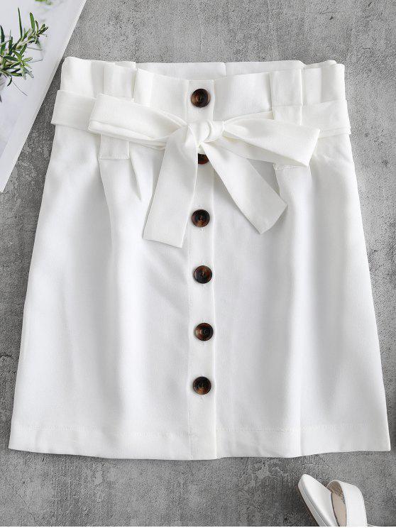 زر الجبهة مربوط تنورة صغيرة - أبيض M