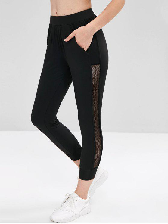 fancy Fishnet Panel Sports Crop Leggings - BLACK M