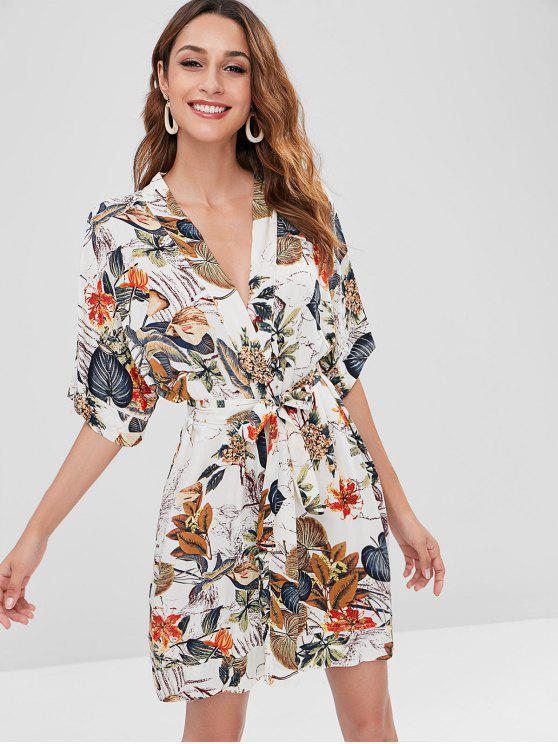 best Leaf Print Kimono - MULTI S
