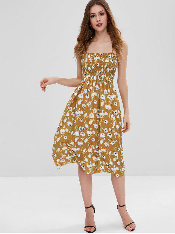 shop Floral Smocked Cami Dress - ORANGE GOLD ONE SIZE