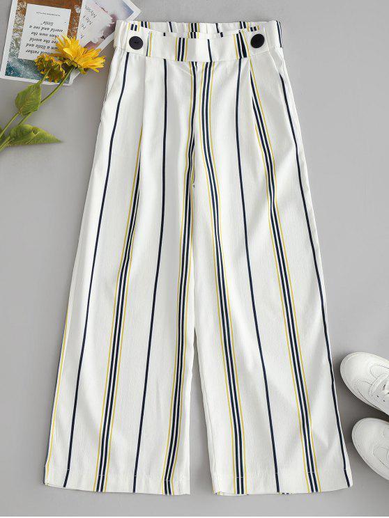new Striped Wide Leg Capri Pants - WHITE S