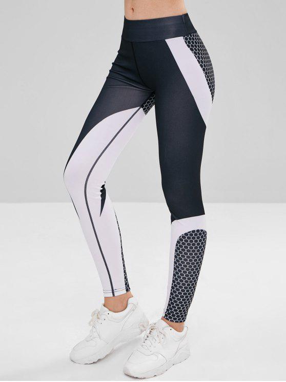 Elastische Taille Farbblock Sport Leggings - Multi S