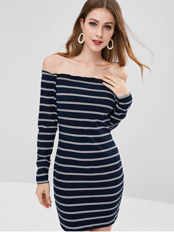 bc867ce9219 27% OFF  2019 Ribbed Striped Off Shoulder Dress In DARK SLATE BLUE ...
