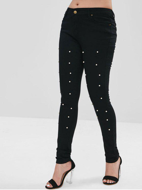 unique Faux Pearl Embellished Tight Pants - BLACK S