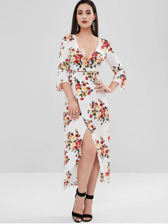 online Low Cut Floral Flare Sleeve Slit Dress - MULTI S