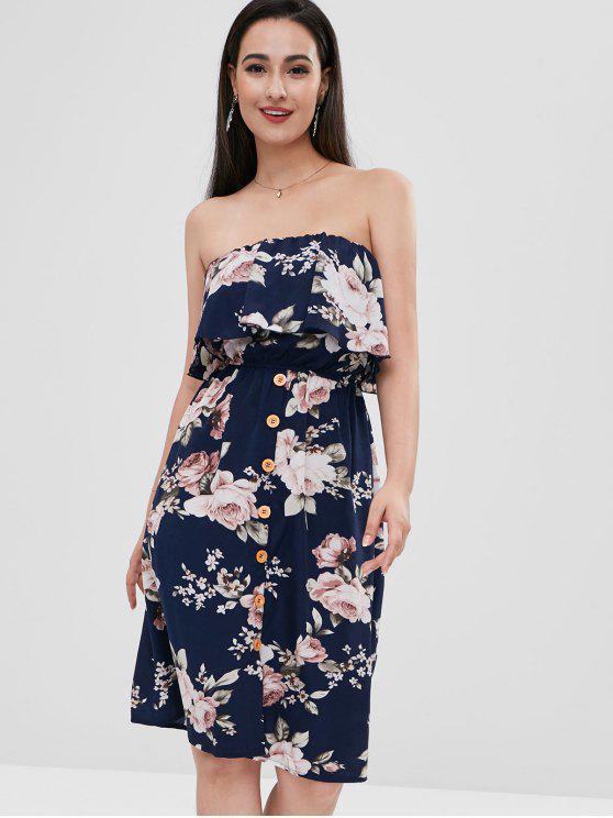 hot Floral Ruffle Strapless Dress - MIDNIGHT BLUE L