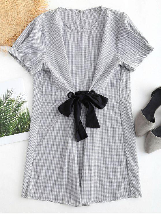 BOWKNOT منمق القماش القطني اللباس - أسود L