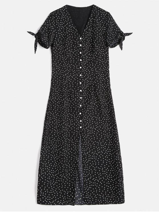 chic Buttons Embellished Polka Dot Dress - BLACK L