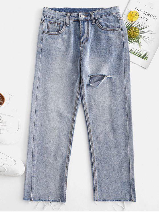 Lacerated الفخذ التاسع جينز مستقيم - ازرق L