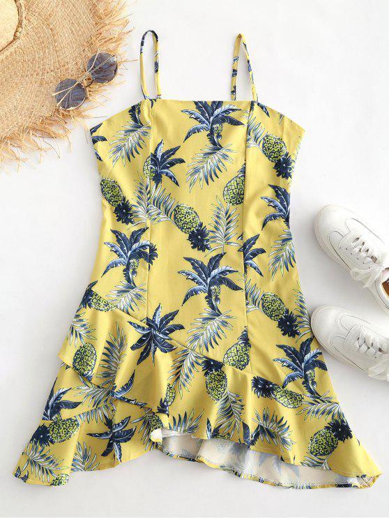 Tropical Print Ruffles كامي اللباس - قضبان ذهبية S