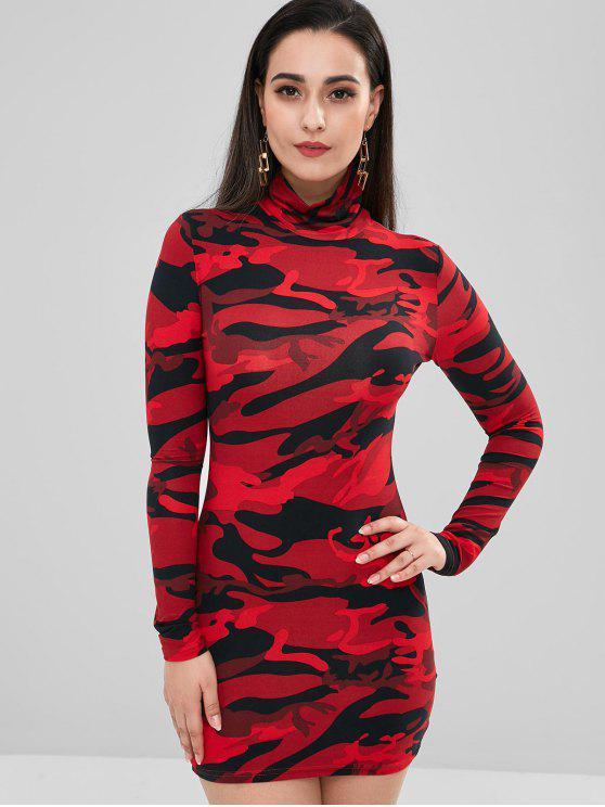 online Camo Long Sleeve Mini Tee Dress - MULTI M