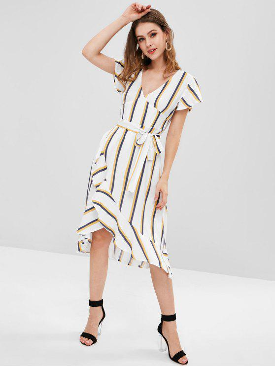 fashion Flounce Striped Dress - MULTI S
