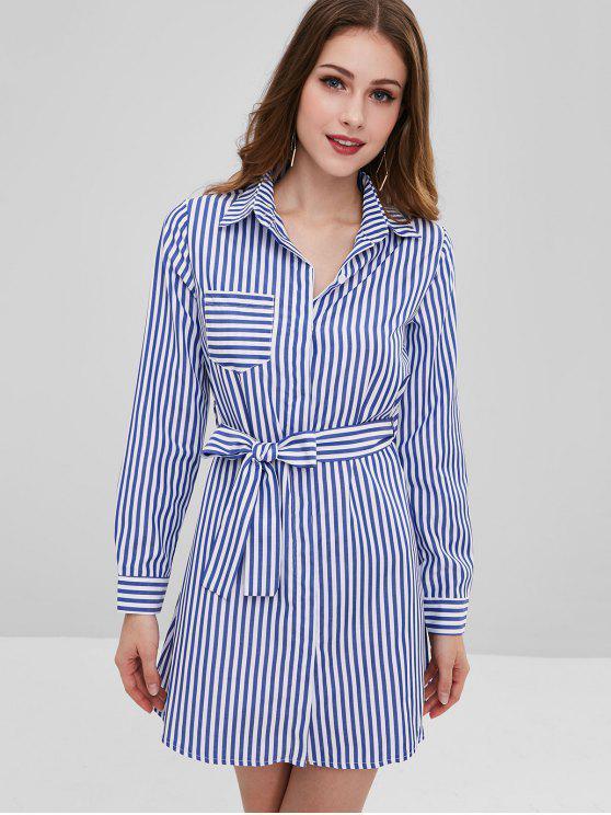 03ff3fadd 27% OFF  2019 Vestido Camisa Casual Rayas En Azul