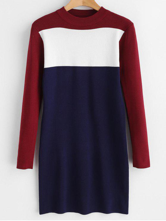 new Color Block Bodycon Sweater Dress - MULTI ONE SIZE