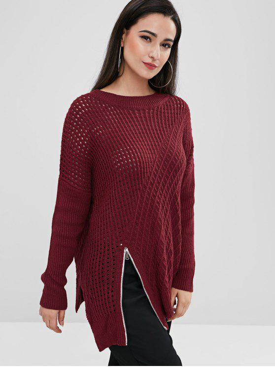new Open Knit Zip Asymmetrical Sweater - RED WINE ONE SIZE