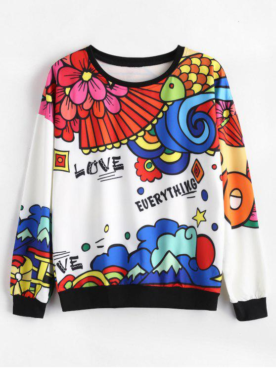 buy Love Everything Graphic Floral Sweatshirt - MULTI S