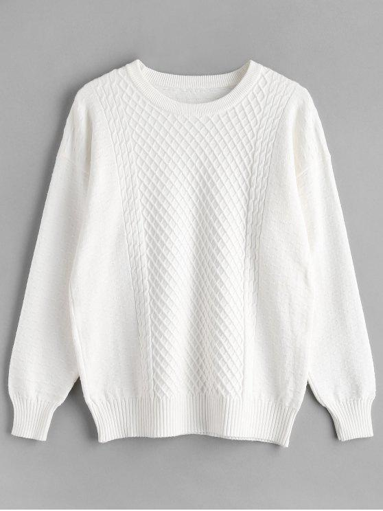 shops Geometric Cable Knit Tunic Sweater - WHITE ONE SIZE