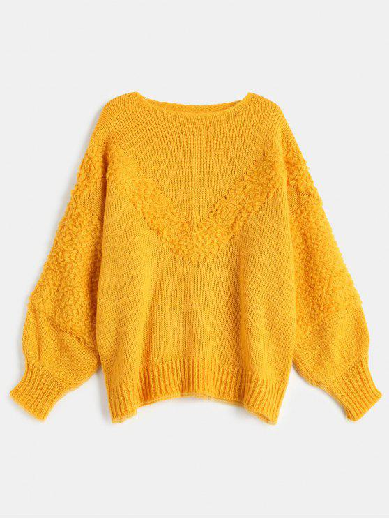 fashion Drop Shoulder Loose Jumper Sweater - BRIGHT YELLOW ONE SIZE