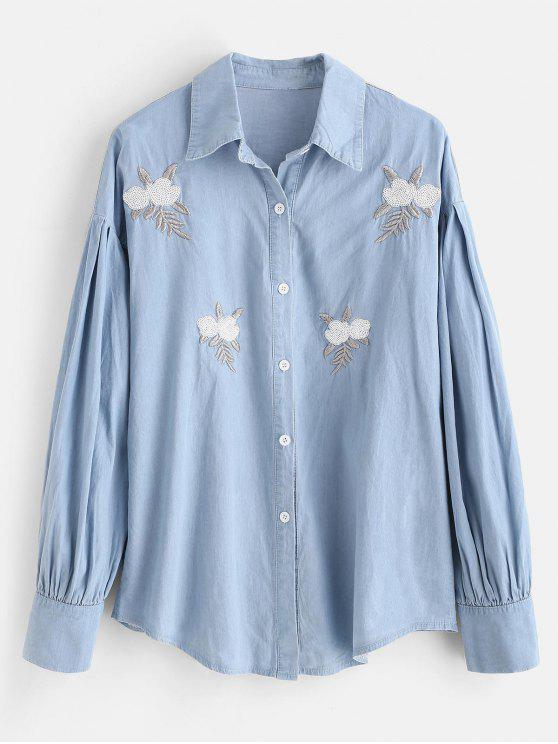 hot Pleated Sequin Embroidered Chambray Shirt - BLUE GRAY M