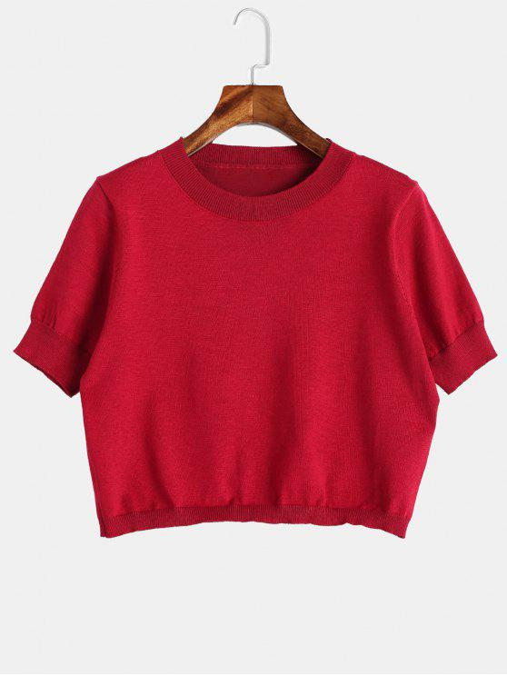 outfit Short Sleeve Cropped Knitwear - RED ONE SIZE