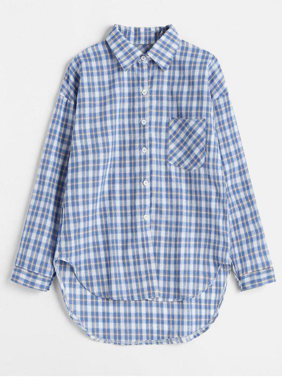 جيب أمامي كم طويل قميص منقوش - أزرق فاتح حجم واحد
