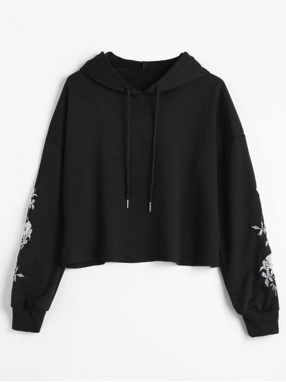 ladies Drop Shoulder Embroidered Hoodie - BLACK L