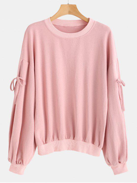 shops Tie Crew Neck Sweatshirt - PINK BUBBLEGUM ONE SIZE