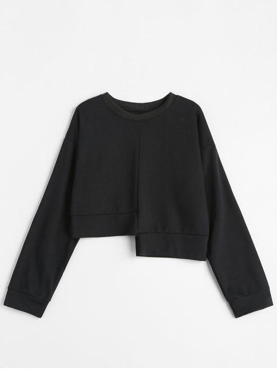 fashion Solid Color Asymmetric Sweatshirt - BLACK ONE SIZE