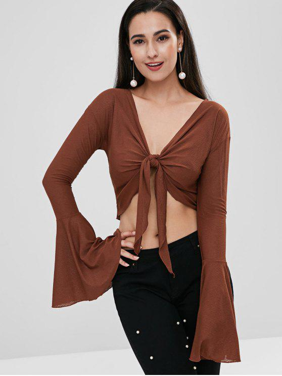 chic Flare Sleeve Knot Crop Blouse - DEEP COFFEE S