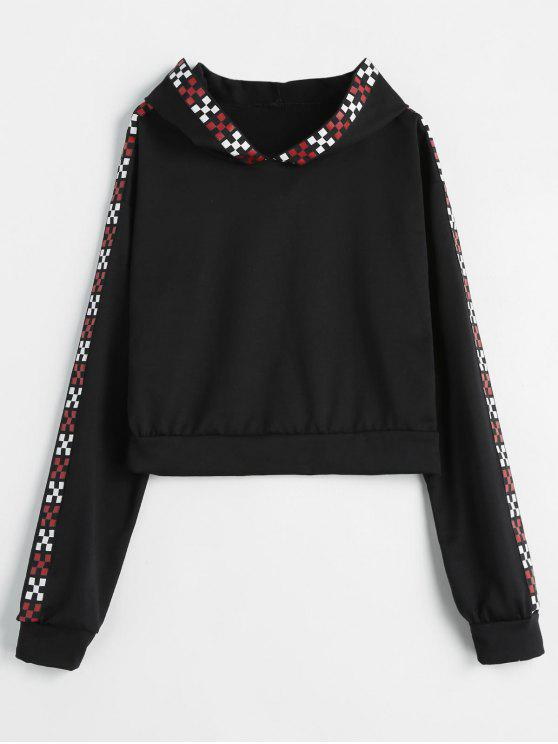 unique Checked Trim Cropped Hoodie - BLACK M