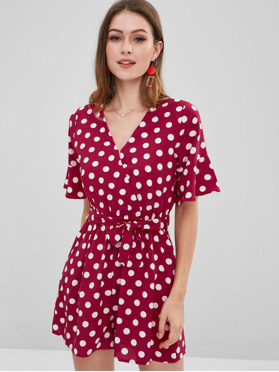 best Belted Bell Sleeve Polka Dot Romper - RED ONE SIZE
