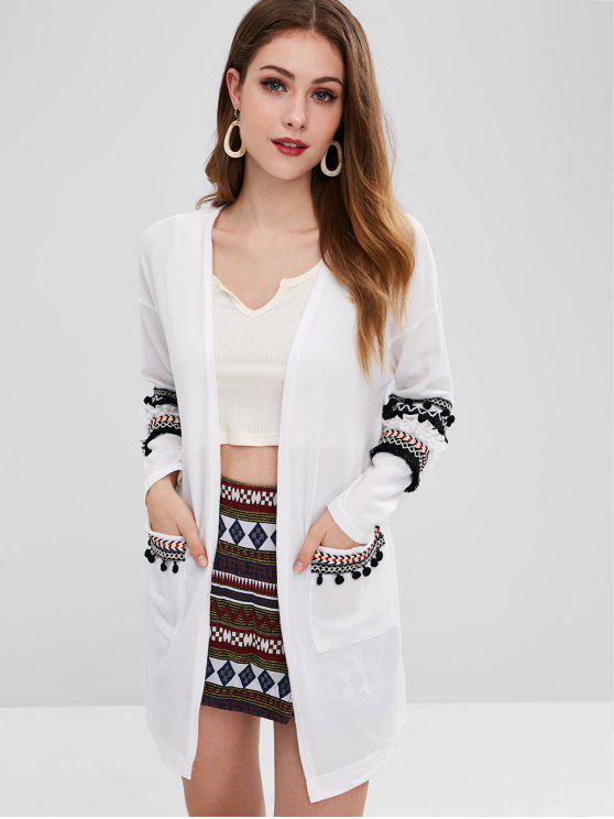 buy Tassel Open Front Cardigan - WHITE M