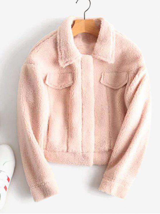 online Snap Button Faux Shearling Teddy Jacket - PINK BUBBLEGUM S